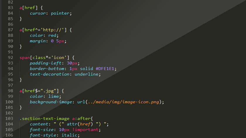 Screenshot CSS Selektoren. Sublime Text 2