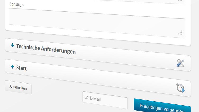 Screenshot: Fragebogen für Webdesigner