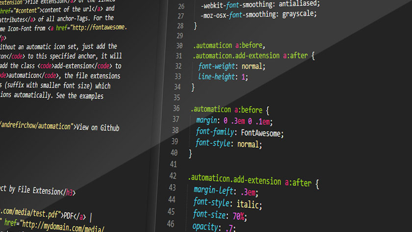 CSS Spielwiese. Screenshot Sublime Text. Code Example.